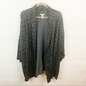 Catherine's Plus Size Open Front Leopard Cardigan